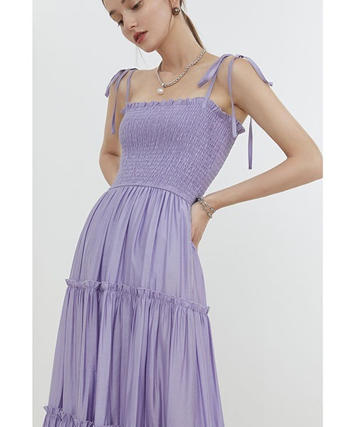 【Fano Studios】【2021SS】Ribbon camisole tiered dress FX21L028