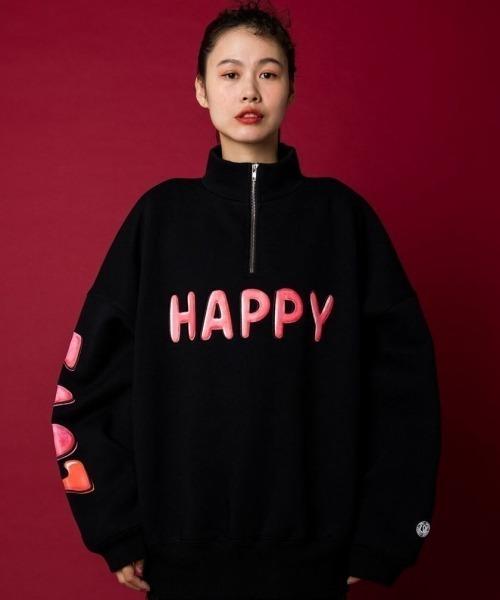 Little sunny bite(リトルサニーバイト)の「LittleSunnyBite/リトルサニーバイト/HAPPY LOVE zip sweat top/ハーフジップスウェット(Tシャツ/カットソー)」|ブラック