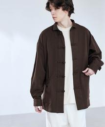 TRストレッチ ワイドスリーブ オーバーサイズ チャイナシャツ -2021SPRING-ダークブラウン
