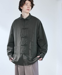 TRストレッチ ワイドスリーブ オーバーサイズ チャイナシャツ -2021SPRING-ブラック系その他