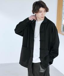 TRストレッチ ワイドスリーブ オーバーサイズ チャイナシャツ -2021SPRING-ブラック