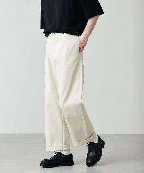 【larucrur】ストレッチカツラギテーパードタックワイドパンツ -2021 New Spring Collection-