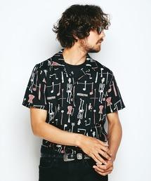 THE FUZZ総柄 半袖オープンカラーシャツ