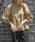 select MOCA(セレクトモカ)の「スタンドカラーペプラムバルーンスリーブクルミボタン長袖ブラウス(シャツ/ブラウス)」|ベージュ