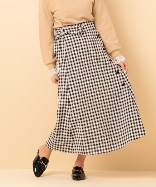 柄フレアロングスカート