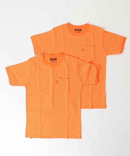 ワッフル ポケット付Tシャツ 2パック