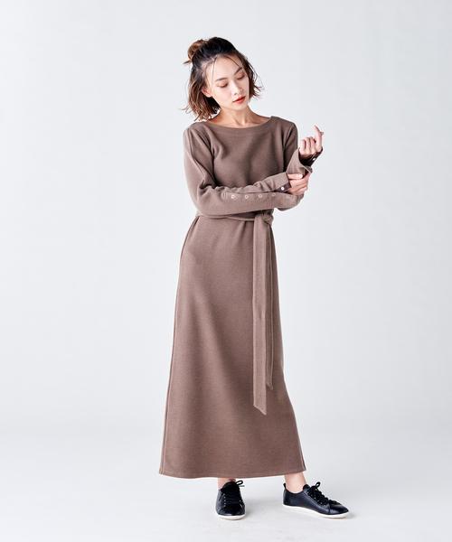 柔らかな質感の ワッフル袖スリットワンピース(ワンピース)|COEL(コエル)のファッション通販, PearlMoon:d7f46486 --- 5613dcaibao.eu.org