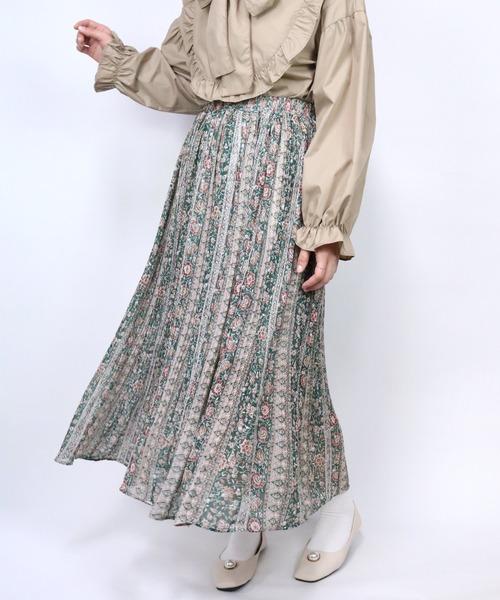 Clice de Paris(クリシェドゥパリス)の「K/花柄プリーツSK(スカート)」|グリーン