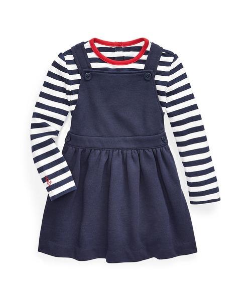 Polo Ralph Lauren Childrenswear(ポロラルフローレンチャイルドウェア)の「Tシャツ & オーバーオール ドレス セット(ワンピース)」 ブルー