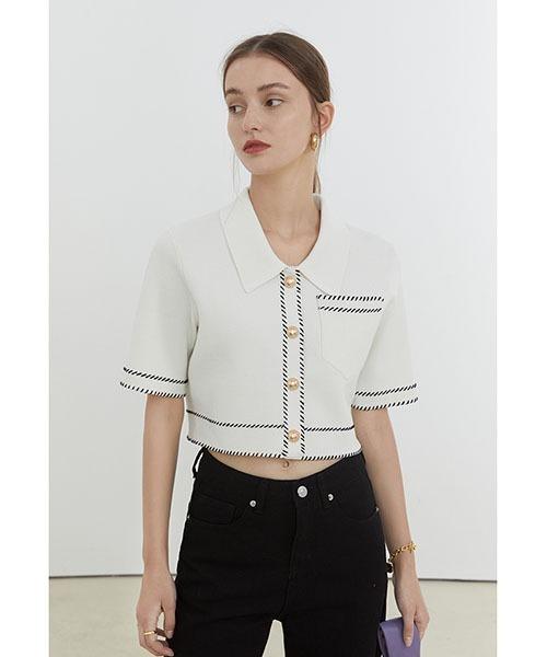 【Fano Studios】【2021SS】Gold button short Knit jacket FX21S150