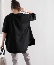 classicalelf(クラシカルエルフ)のアシンメトリービッグシルエットミドル丈無地クルーネックTシャツ(半袖)(Tシャツ/カットソー)