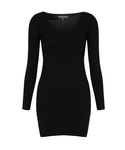 "TOPSHOP One piece dress ""PETITE BLACK  SEAMED V NECK BODYCON DRESS"""