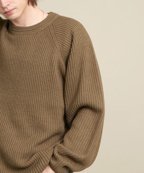 オーバーサイズ畦編みラグランスリーブクルーネックニットプルオーバー (EMMA CLOTHES)