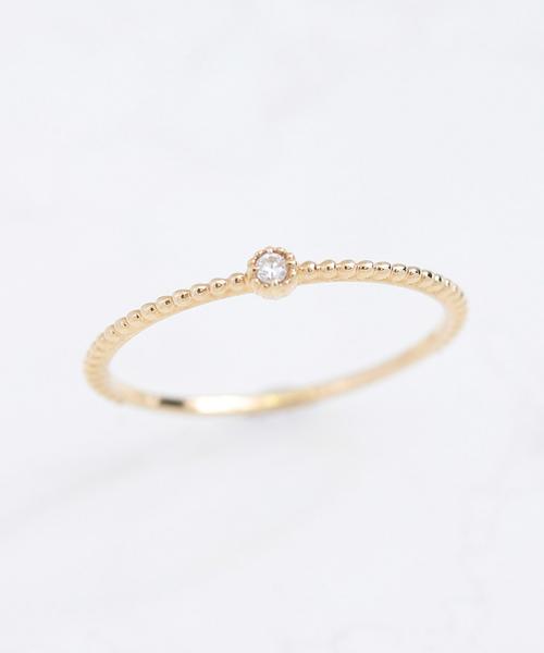 NOIR DE POUPEE(ノワールドプーペ)の「K10 ベーシック ダイヤモンド&ミル ピンキーリング(リング)」|クリア