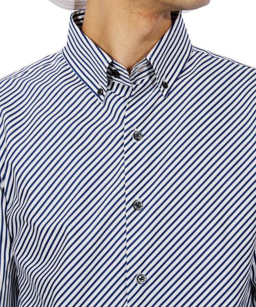 国産 ストライプ柄 長袖シャツ