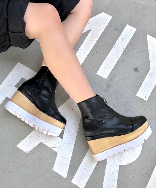 フロントジッパー厚底ブーツ