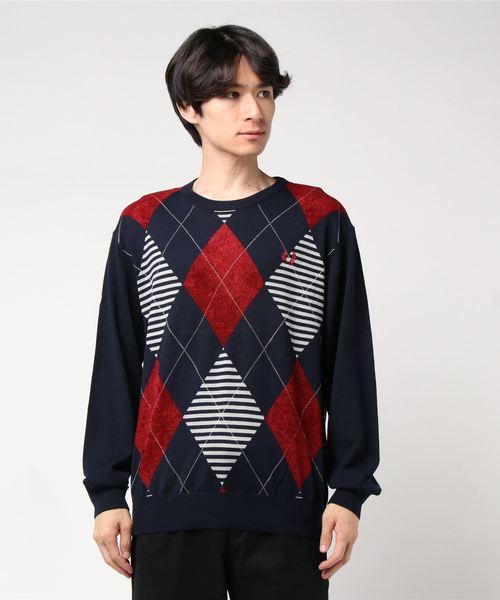 トミカチョウ Argyle Crew Neck Neck Crew Knit Sweater(ニット/セーター) FRED FRED PERRY(フレッドペリー)のファッション通販, 東京デリカオンライン:0888b87b --- steuergraefe.de
