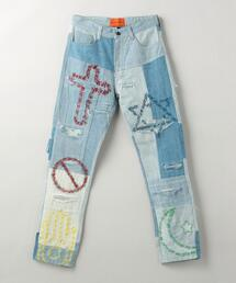Who Decides War by MRDRBRVDO(エブブラバド)UNIFIED EMB DENIM PANTS