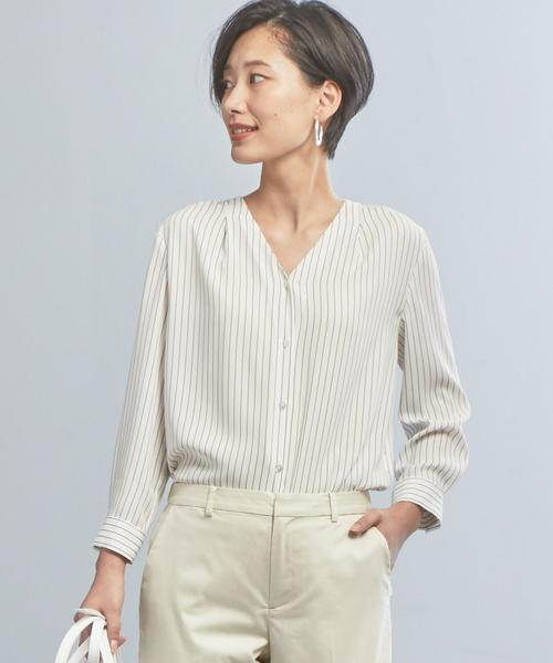 【WORK TRIP OUTFITS】★WTO D ストライプ ブラウス