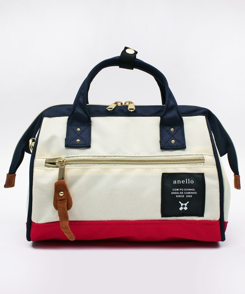 anello(アネロ)の「ミニボストンバッグ ポリ キャンバス anello(ショルダーバッグ)」|ホワイト系その他