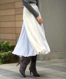 Andemiu(アンデミュウ)のカラーキリカエプリーツスカート820196(スカート)