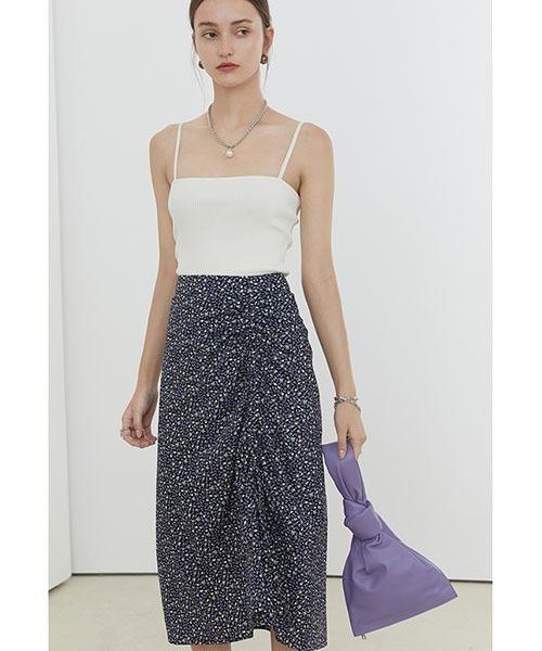 【Fano Studios】【2021SS】Floral asymmetric gather skirt FX21B025