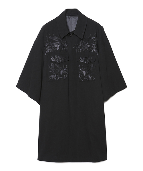 Withered Flower Embroidery Happi Sleeve Coat