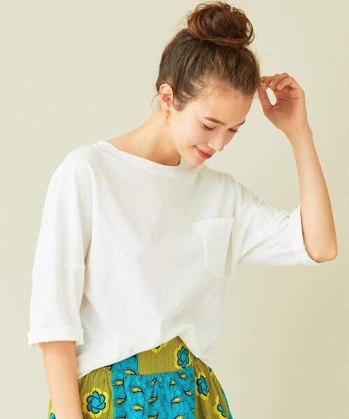 BEAUTY&YOUTH UNITED ARROWS(ビューティアンドユースユナイテッドアローズ)の「BY∴ ドライコットンドルマン6分袖カットソー(Tシャツ/カットソー)」 ホワイト