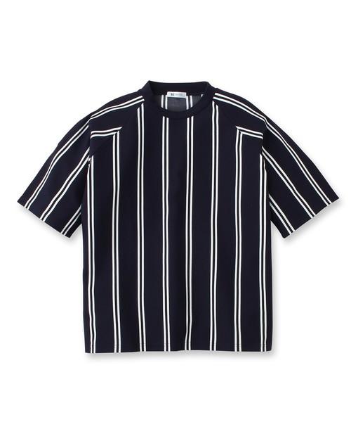 ストライプポンチ半袖カットソー