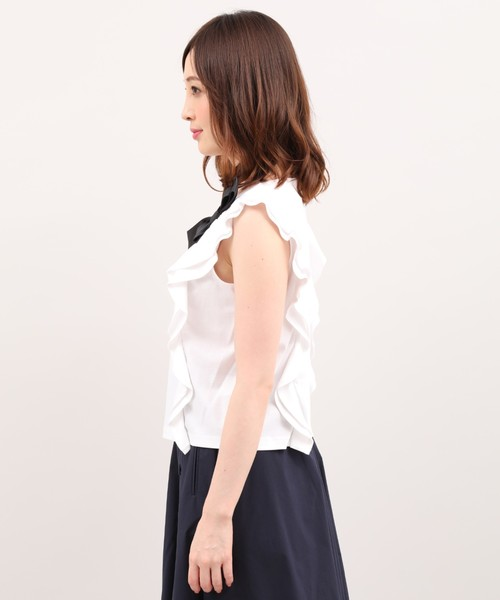 《Maglie White》リボンカットソー