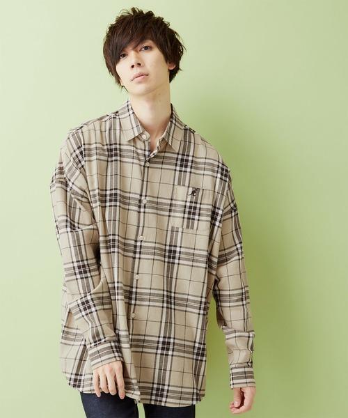 MONO-MART×KANGOL/カンゴール 別注ビッグシルエット チェックシャツ 2019AW