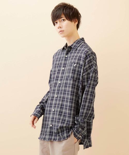 MONO-MART×KANGOL/カンゴール 別注ビッグシルエット チェックシャツ