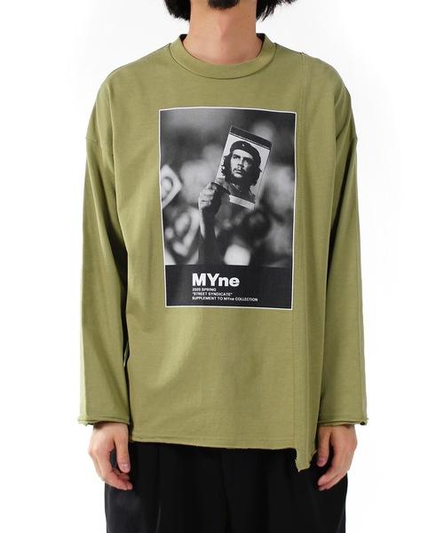 MYne(マイン)の「【MYne】フォトドッキングロングTシャツ/Photo Docking Long Sleeve Tshirt(Tシャツ/カットソー)」 グリーン