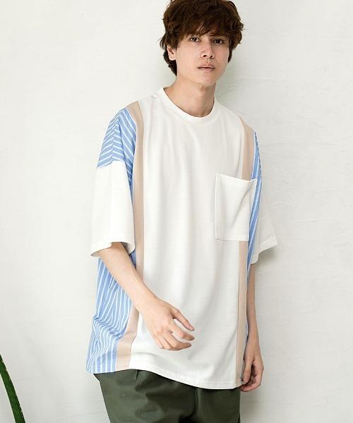 UP START(アップスタート)の「サイドストライプビッグTシャツ(Tシャツ/カットソー)」|ホワイト系その他