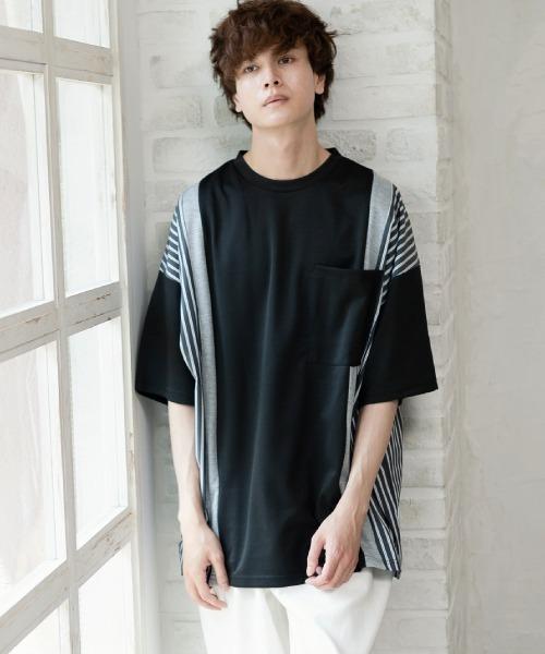 UP START(アップスタート)の「サイドストライプビッグTシャツ(Tシャツ/カットソー)」|ブラック