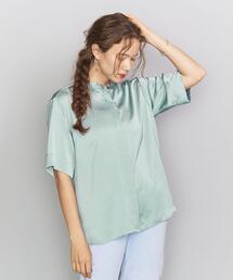 BY サテンバンドカラー5分袖シャツ  ◆