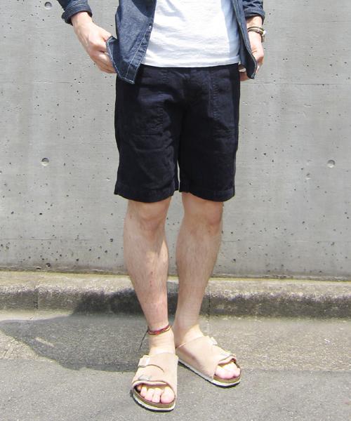Denime(ドゥニーム)の「COTTON LINEN CORD SHORT PANTS(スラックス)」|ネイビー