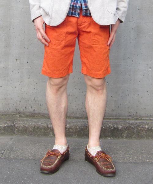 Denime(ドゥニーム)の「COTTON LINEN CORD SHORT PANTS(スラックス)」|オレンジ