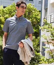 【WORK TRIP OUTFITS】ドライ バーズアイ ボタンダウン ポロシャツ《吸水速乾・抗菌》