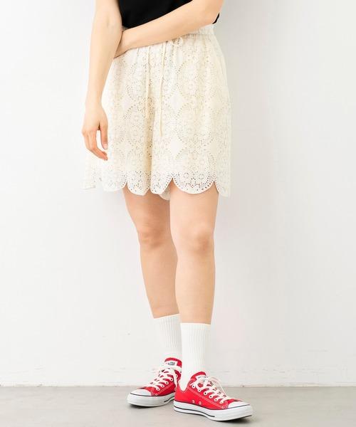 MILKFED.(ミルクフェド)の「LACE SHORT PANTS(パンツ)」|ホワイト