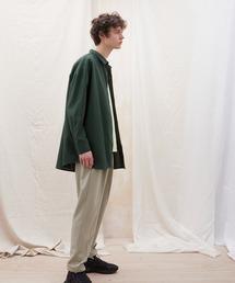 ロングスリーブビッグシルエットレギュラーカラーシャツグリーン