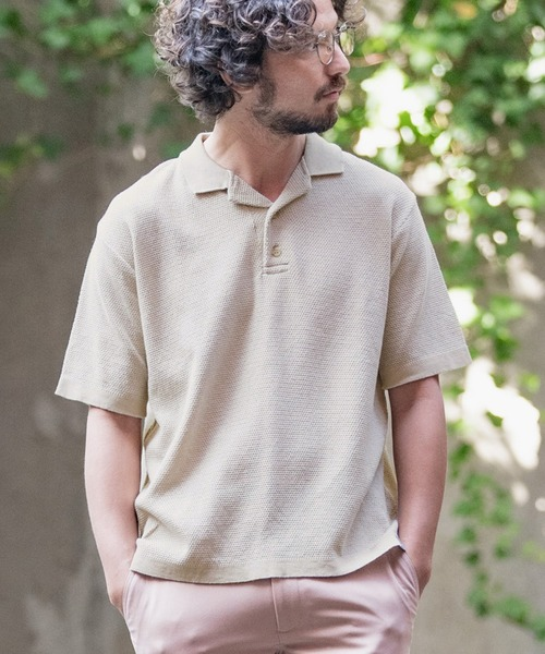 mhs1660-Cotton Linen Open Collar Knit Polo Shirts (MADE IN JAPAN) ポロシャツ