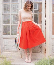 KOBE LETTUCE(コウベレタス)のタックフレアミディ丈ビタミンカラースカート(スカート)
