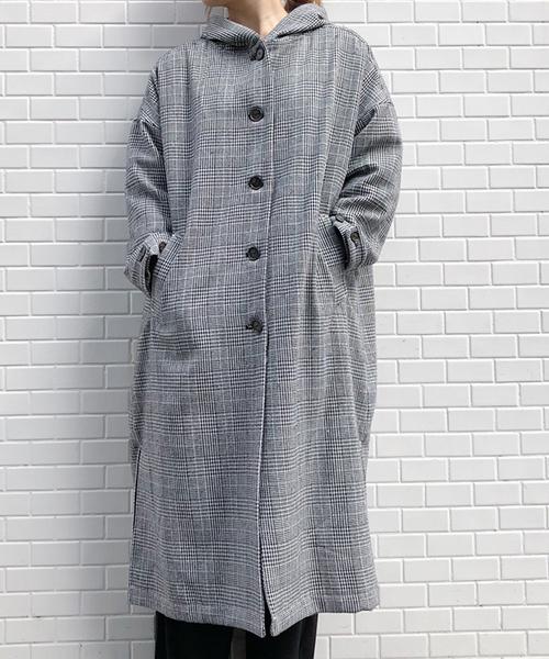 【MINELAL】グレンチェックフードコート