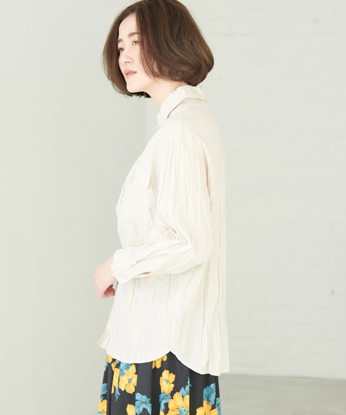 綿ボイルクリンクルシャツ