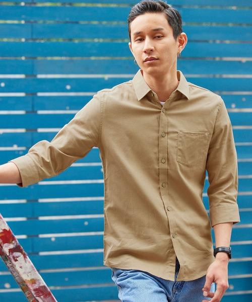 パナマ織り 綿麻ストレッチ7分袖シャツ