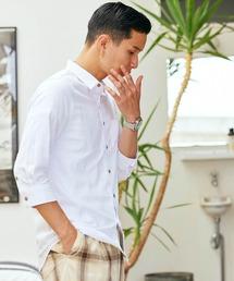 パナマ織り 綿麻ストレッチ7分袖シャツホワイト