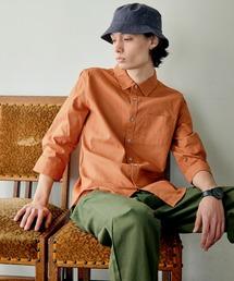 パナマ織り 綿麻ストレッチ7分袖シャツオレンジ