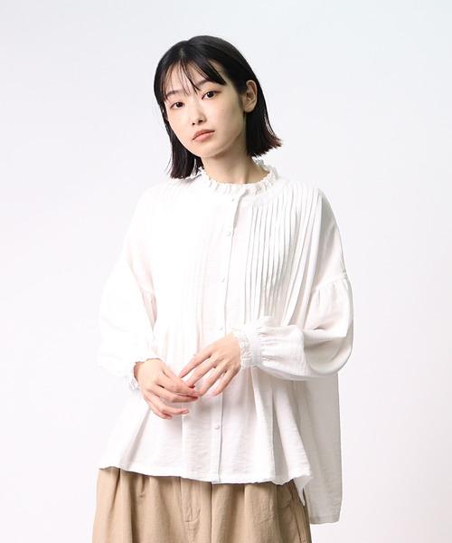 【 ubasoku / ウバソク 】胸元多数ピンタック衿・カフスレース クルミ釦ブラウス ub-0107 BNT