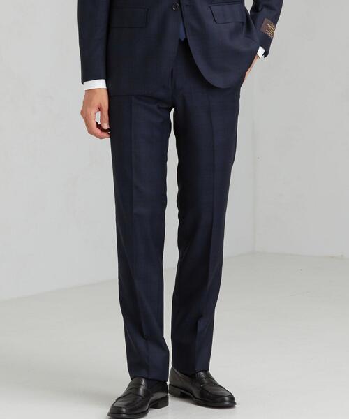 [ カノニコ ] CANONICO グレンチェック HX ノープリーツ セットアップ スーツ パンツ